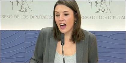Irene Montero en rueda de prensa.