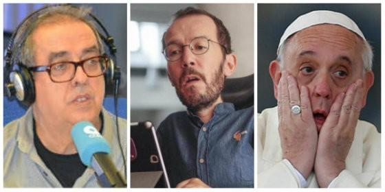 Santiago González, Pablo Echenique y el Papa Francisco.