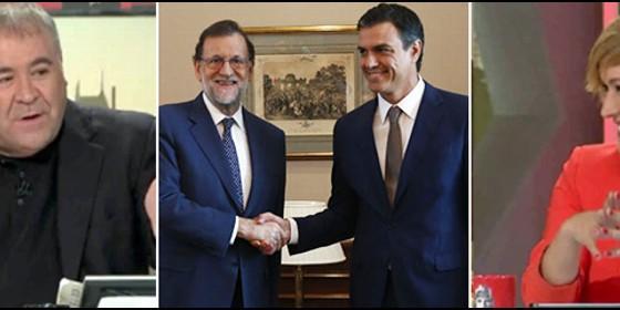 Antonio García Ferreras, Rajoy con Sánchez, y Cristina Pardo.