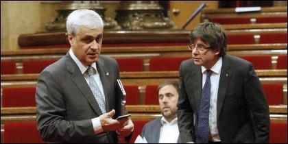 Germà Gordó, junto a Carles Puigdemont y Oriol Junqueras.