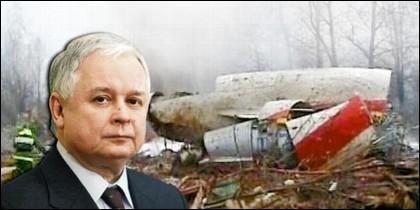 Lech Kaczynsky y los restos de su avión siniestrado.
