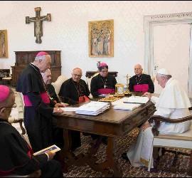 El Papa, durante su encuentro con los obispos venezolanos