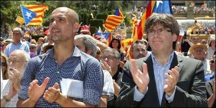 Pep Guardiola con Carles Puigdemont.