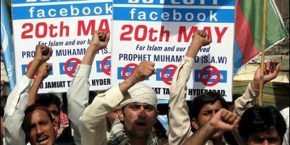 Protesta contra Facebook en Pakistán en 2010 por un concurso de caricaturas de Mahoma en la red social