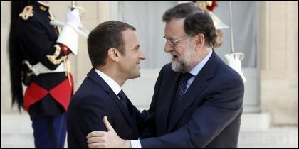 Emmanuel Macron con Mariano Rajoy en el Palacio del Eliseo.