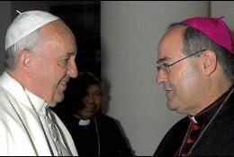 Francisco Cerro, obispo de Coria-Cáceres, con el Papa Francisco