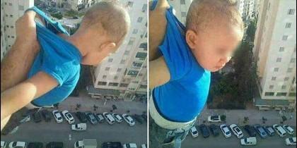 El argelino de Facebook sostienen en el vacío a su hijo.