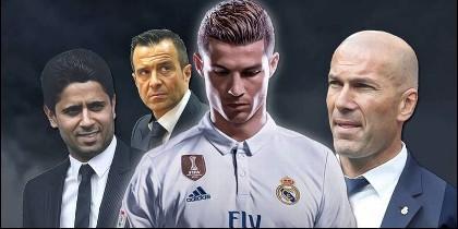 Al-Khelaïfi, presidente del PSG, Jorge Mendes, Cristiano Ronaldo y Zidane.