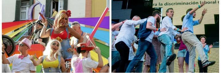 Desfile del día del Orgullo Gay e Iglesias haciendo el trenecito en Chueca.