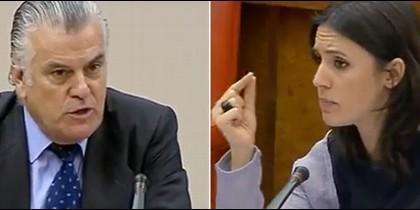 Luis Bárcenas e Irene Montero en el Congreso.