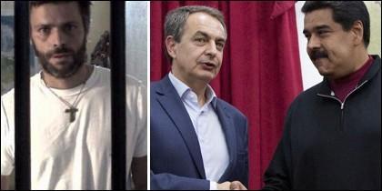 Leopoldo López; y Zapatero con Maduro.