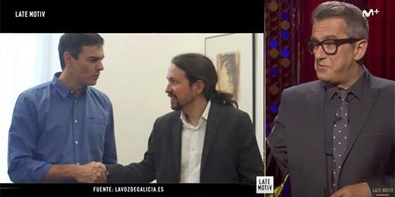 La reunión de Pedro Sánchez y Pablo Iglesias da mucho material a Buenafuente.
