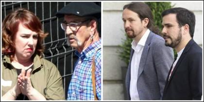Ainhoa Aznárez con el 'Carnicero de Mondragón' y Pablo Iglesias con Garzón.