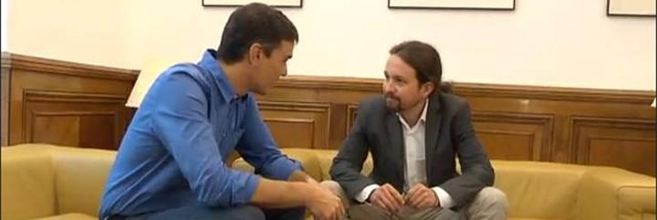 Pedro Sánchez y Pablo Iglesias, en la reunión del 27-6-2017.