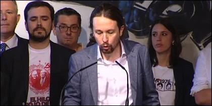 Alberto Garzón, Pablo Iglesias e Irene Montero.