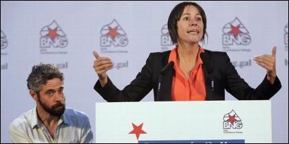 Ana Pontón, lider del BNG, con el concejal Iván Rivas (BNG).