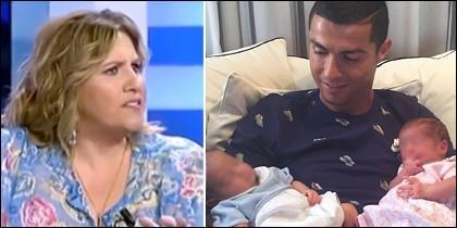 Cristina López Schlichting y Cristiano Ronaldo con sus dos hijos.
