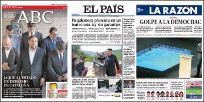 Portadas de ABC, El País y La Razón del 5-7-2017.