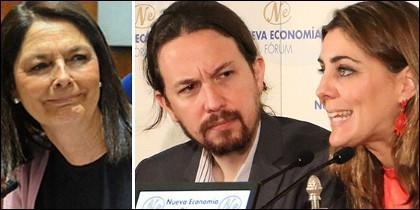 Paloma Adrados (PP), Pablo Iglesias y Lorena Ruiz-Huerta (Podemos).