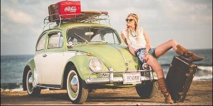 Vacaciones, turista, Coca-Cola, Volkswagen 'escarabajo' y playa.