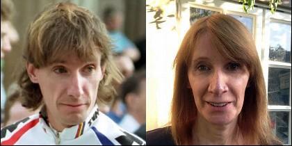 Robert Millar cuando era ciclista y ahora como Phillipa York y comentarista.