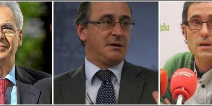 Carlos Totorika (PSOE), Alfonso Alonso (PP) y Julen Arzuaga (Bildu).