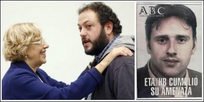 Manuela Carmena con Guillermo Zapata y portada del ABC con la muerte de Miguel Ángel Blanco.