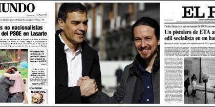 Portadas de El Mundo y El País del 21 de marzo de 2011 y Pedro Sánchez y Pablo Iglesias.