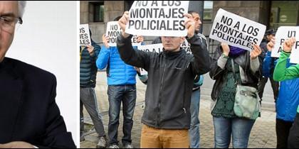Baltasar Garzón y manifestantes a favor de los agresores de Alsasua.