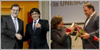 Mariano Rajoy con Puigdemont y Soraya Sáenz de Santamaría con Junqueras.