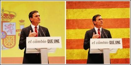 Pedro Sánchez en campaña electoral con la bandera de España en 2016 y un montaje con la estelada de fondo.