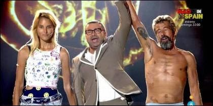 Alba Carrillo, Jorge Javier Vázquez y José Luis, campeón de 'Supervivientes 2017'.