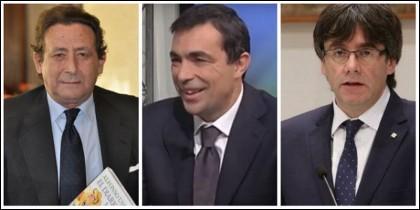 Alfonso Ussía, Pere Soler y Carles Puigdemont.