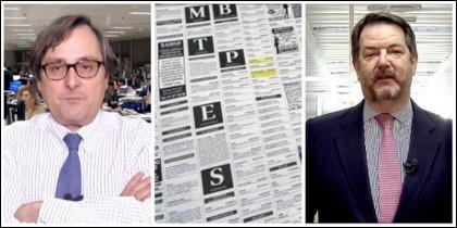 Francisco Marhuenda, director de La Razón, una página de anuncios de contactos y Bieito Rubido, director de ABC