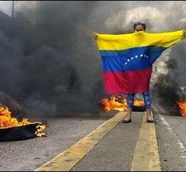 Los demócratas se manifiestan en Venezuela,