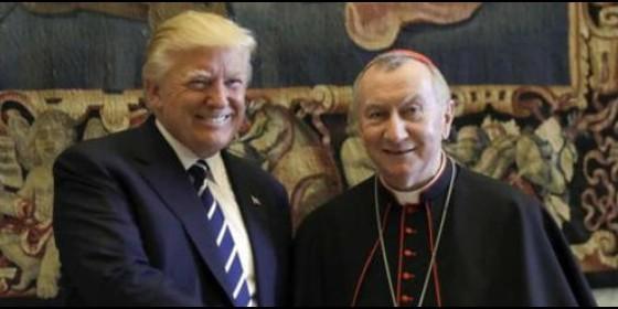 Pietro Parolin, con Donald Trump