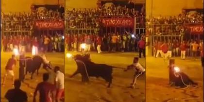 El toro embistiendo al pilón