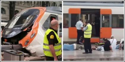 El tren accidentado en la estación de França.