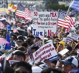 Manifestación pro-inmigrantes en EEUU
