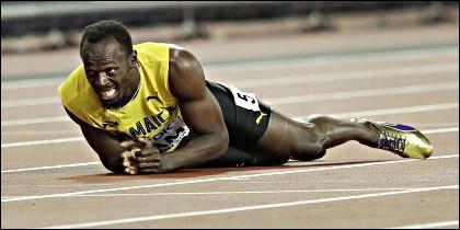 Usain Bolt en su última carrera.