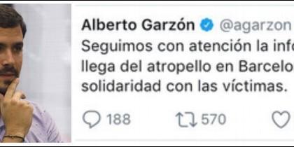 El tuir de Alberto Garzón sobre el atenatdo de la Rambla de Barcelona.