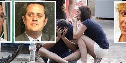 Raúl Romeva, Joaquin Forn y Rosa María Sardá con un herido en el atentado.