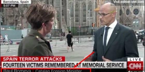Captura de la CNN entrevistando al 'ministro' Romeva.