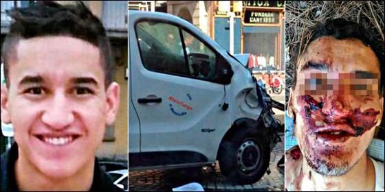 Younes Abouyaaqoub, la furgoneta de La Rambla, y el terrorista antes y después.