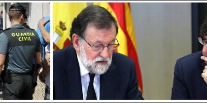 Guardias civiles y Mossos, y Rajoy con Puigdemont.