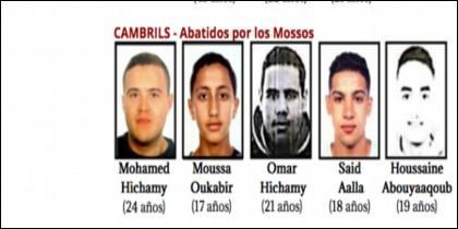 Los cinco terroristas islámicos abatidos a tiros en Cambrils.
