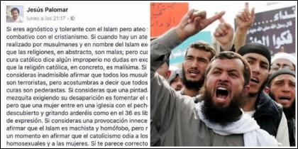 Post del profesor Jesús Palomar y unos islamistas violentos.