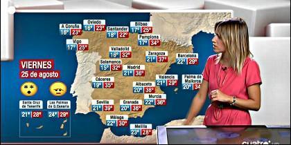 El desquiciado mapa del Tiempo de CuatroTV, donde a Canarias le faltan tres islas.