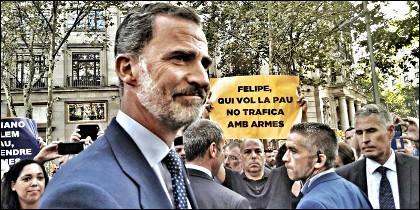 El tipo que sujeta la panacarta contra el Rey, es Daniel Minoves, proetarra e independentista catalán.
