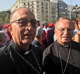 Omella y Pujol, en la manifestación del sábado